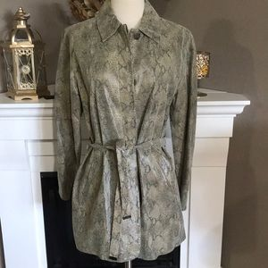 Express World Brand Leather Snakeskin Trench Coat